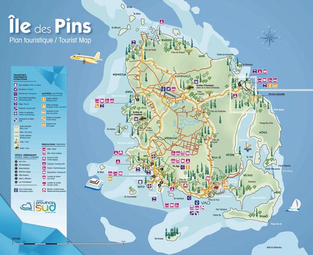 carte touristique ile des pins
