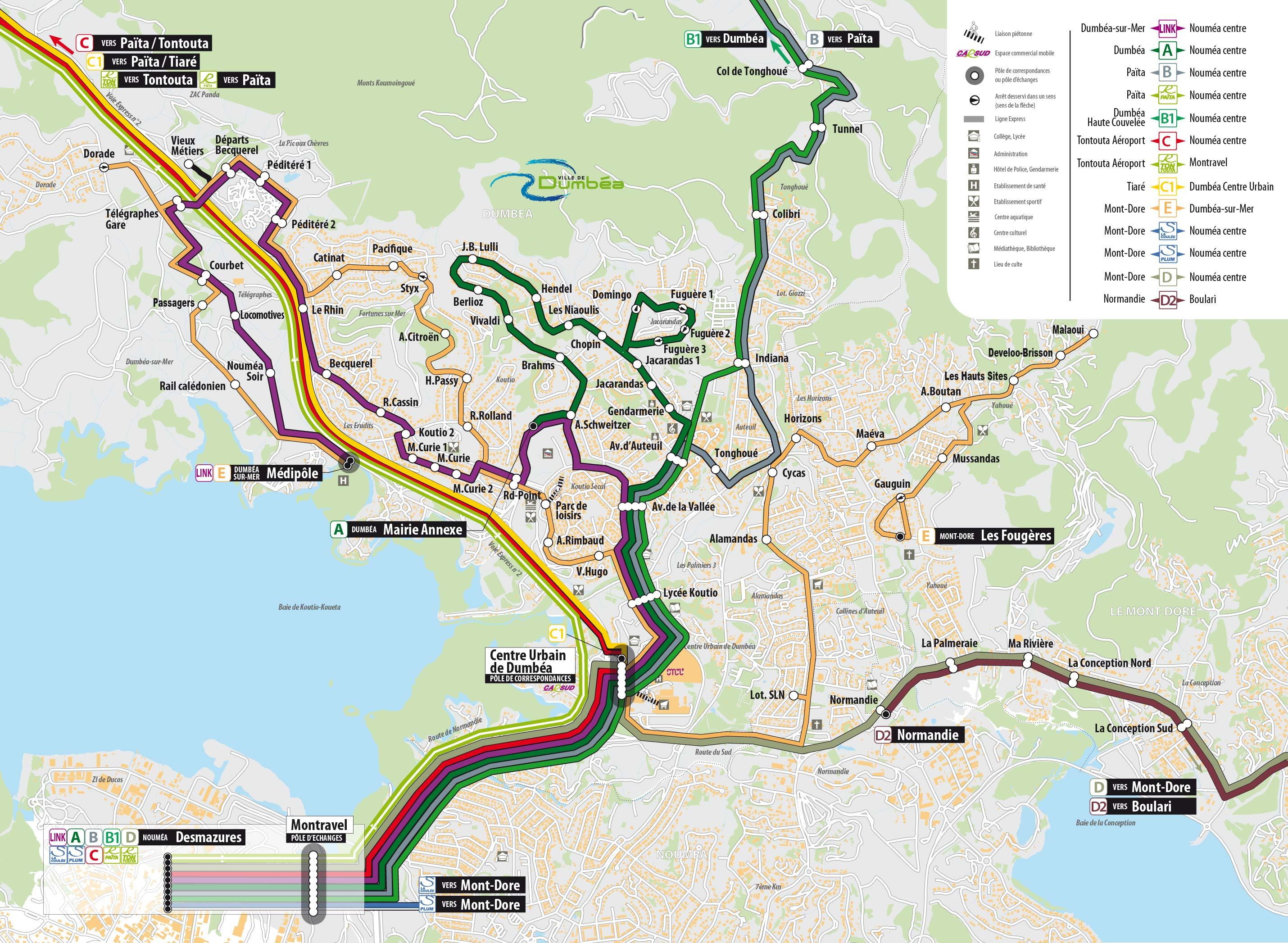 plan du réseau car sud nouméa